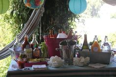 A big bar spread laid out on a Deck Towel draped table. You can't ask guests to arrive at 11am on a Sunday morning and not offer a nice assortment of cocktails, right?