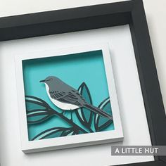 The Northern Mockingbird (Texas state bird) gift set SVG cutting files that include one 3D wall art piece perfect for framing in a shadow box and two matching cards.