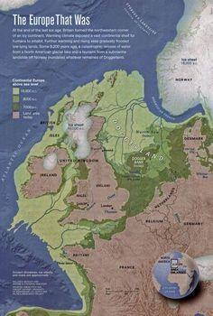 Carta di Vince Gaffney dell'Università di Birmingham che mostra la Doggerland originaria e i diversi stadi dell'inondazione che hanno portato alla scomparsa del territorio, fino all'attuale situazione costiera.