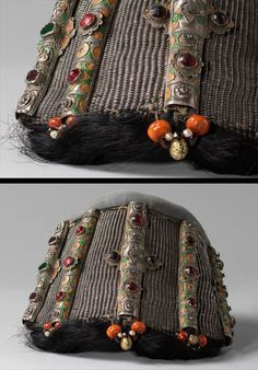 Morocco ~ Tiznit | Woman's headgear ~ 'mehdor' ~ horsehair interwoven with silver thread, cloisonne enamelled silver inlaid with glass, coral and other beads, fabric | Mid 20th century | ©Israel Museum, Jerusalem.