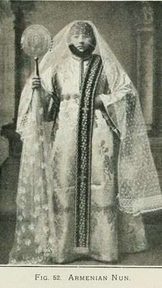 An Armenian nun in ceremonial outfit.  Early 20th century.