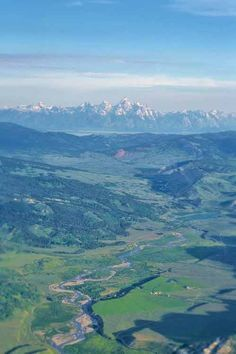 Arial view of Goosewing Ranch, Gros Ventre River, and the Tetons