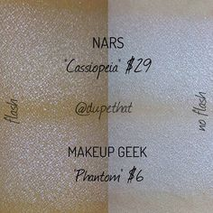 That price difference tho  @makeupgeekcosmetics new duochrome eyeshadow in Phantom looks just like NARS Cassiopeia! The only difference between the two shades is that Cassiopeia is sparkly while Phantom is not. Which do you prefer? by dupethat