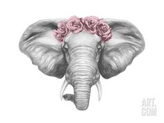 Portrait of Elephant with Floral Head Wreath. Hand Drawn Illustration. Art Print by victoria_novak at Art.com