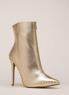 7b2810d4d89618 Stunning Studded Pointy Metallic Booties GOLD