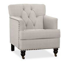 Tudor Upholstered Tufted Armchair, Polyester Wrapped Cushions, Sunbrella(R) Performance Boss Tweed Pebble