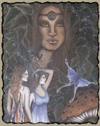 Danu….Celtic (Irish) Goddess, the mother of The Dagda the All father, Creation Goddess, and Mother of the Tuatha de Danaan. Aspect of the Morrigan or Triple Goddess. Considered to have been an early form of Anu, the Universal Mother. Patroness of wizards. Symbolizes rivers, water, wells, prosperity, magick, and wisdom. Tuatha de Danaan literally means Children or Clan of Danu. The Tuatha de Danaan are the Fae folk of Ireland. EXTREMELY potent Goddess form I easily connect with and work…