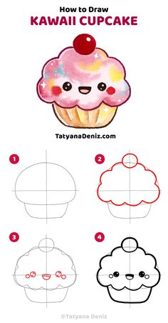kawaii easy drawings draw dibujos drawing cupcake step simple doodle doodles dibujar cartoon disney zeichnen wie zeichenideen zum tatyana deniz