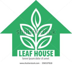 Abstract vector, shape leaf home as a symbol of gardening activity, agriculture, and environmentalists campaign. - stock vector
