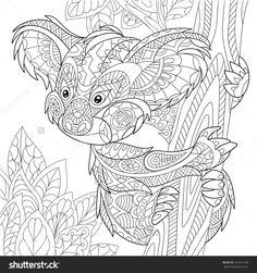 Zentangle Stylized Cartoon Koala Bear Sitting Among Tree Leaves. Hand Drawn Sketch For Adult Antistress Coloring Page, T-Shirt Emblem, Logo Or Tattoo With Doodle, Zentangle, Floral Design Elements. Стоковая векторная иллюстрация 412201240 : Shutterstock