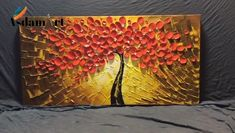 Here will show you finished red flower tree, texture, petals 💃🤗If love this pin, please save it. Canvas Painting Tutorials, Acrylic Painting Flowers, Modern Oil Painting, Modern Art Paintings, Tree Paintings, Oversized Canvas Art, Abstract Canvas Art, Flower Canvas, Flower Tree