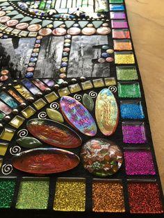 CUSTOM MOSAIC SIGN Mixed Media Glass Glitter Tiles Stones Mirror Mosaic, Mosaic Art, Mosaic Glass, Mosaic Tiles, Glass Tiles, Mosaic Designs, Mosaic Patterns, Glitter Tiles, Mandala