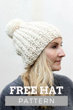 024c2a4f533 Free ribbed hat knitting pattern. Make this super chunky cosy hat with Lion  Brand thick