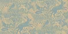 Harvest Hare (SJWPHHSB) - St Judes Wallpapers - Harvest Hare by Mark Hearld is a single colour wallpaper, based on his original linocut, depicting hares and birds in a field scene. Shown in slate blue on cream. Please request sample for true colour match.