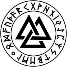 Valknut. Simbol dels soldats d'Odin. Al voltant abecedari rúnic