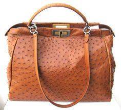 Fendi large Bag Peekaboo. Ostrich Leather