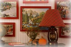 paint-by-number & plaid lantern lamp