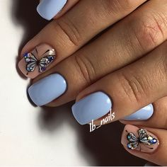 Accurate nails Beautiful nails to the sea Blue nail art Blue nails with butterfly Butterfly nail art Gentle nails with a picture Ideas of gentle nails Manicure 2018 Butterfly Nail Designs, Butterfly Nail Art, Nail Art Design Gallery, Best Nail Art Designs, Spring Nails, Summer Nails, Fall Nails, Blue Nails, My Nails