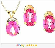 "50% OFF #ebay http://stores.ebay.com/JEWELRY-AND-GIFTS-BY-ALICE-AND-ANN 14K Yellow Gold Pink Topaz Stud Earrings & Pendant 18"" Rope Chain USA Seller"