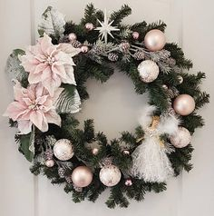 Pale Pink Victorian Christmas Wreath With Lovely Angel And Star