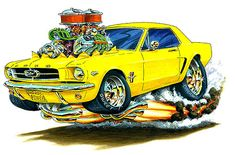 Muscle Monster Car Cartoon Art | Maddmax Design 1964 Ford Mustang Muscle Car T-Shirts, Apparel, Art and Gifts