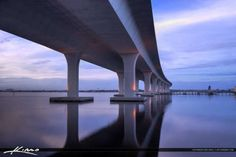 Roosevelt Bridge with reflection from St. Lucie River, Stuart, Florida