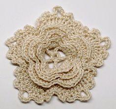 Ravelry: Layered Flower Irish Lace Crochet pattern by Gwen Fisher...a beautiful flower for jewelry.. Free pattern!