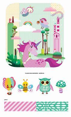 Fantasy, unicorn and Castle illustration for Babies mat & gym.