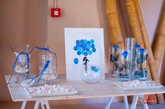 Welcome table decoration in blue and white, blue roses and candy || διακόσμηση τραπεζιού βιβλίου ευχών με μπλε τριαντάφυλλα Decoration Table, Glass Vase, Wedding Decorations, Home Decor, Decoration Home, Room Decor, Wedding Decor, Home Interior Design, Home Decoration