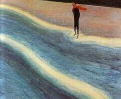 """Léon Spilliaert (Belgian, 1881-1946)   Jeune homme à l'écharpe rouge"""" (1908)      Pastel"""