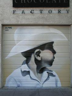 "Street art   Spraypaint on steel ""Paisito"" (Phoenix, USA, 2009) by El Mac"