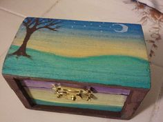 Handpainted Wooden Box with Sunsets by KimKnots on Etsy, $10.00