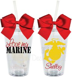 Love My Marine US Marine Corp USMC16oz by LylaBugDesigns on Etsy, $15.00