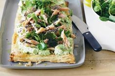 Turn some smoked trout, a packet of puff pasty and a couple of greens into a nutritious, tasty and fast weeknight meal. http://www.taste.com.au//recipes/20403/pea+and+smoked+trout+tart