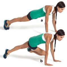 Cross-body mountain climber   Start at the top of the pushup position, with your body forming a straight line from head to heels. Keeping your abs braced, pick up your right foot and slowly bring your right knee toward your left shoulder. Then return to start. Alternate sides, and do 10-12 reps. Stay In Shape, Quick Workouts, Ab Workouts, Ab Exercises, At Home Workouts, Weight Workouts, Fitness Tips, Fitness Motivation, Women's Health