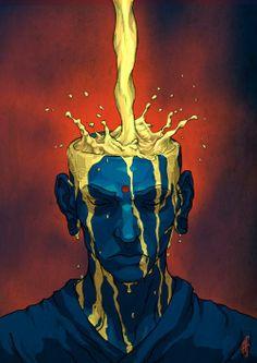 Monk and tea – illustration by alxferreiro arte digital, graphic illustration, street art, Thé Illustration, Illustrations, Psychedelic Art, Character Art, Character Design, Posca Art, Dope Art, Aesthetic Art, Art Inspo