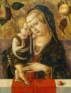 The Virgin and Child ~ 1485-1490 ~ Carlo Crivelli (Venice, 1435-1495) ~ On panel ~ National Gallery of Art, Washington ~ Poised for the viewer's delectation, a ripe cherry balances on the parapet. The Christ Child raises one hand in benediction as his mother casts a sidelong glance at the devotee. Crivelli painted this exquisite work of intimate scale for the private devotions of a single wealthy individual.