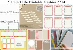 LOTS OF FREEBIES 6 Day of the Week Project Life Printable Freebies 6/14