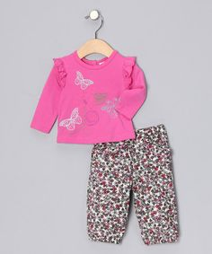 Take a look at this Fuchsia Butterfly Top & Floral Corduroy Pants - Infant by Baby Nay on #zulily today!