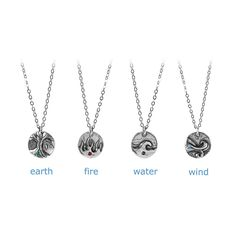 These sterling silver pendants honor the natural element that most closely mirrors your personality. In earth, fire, water or wind. By Mindy and Grant Searcey.