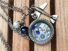 US Air Force Inspired Large 30mm Memory Locket Air Force Locket Necklace