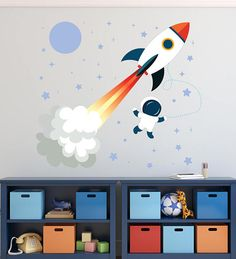 Rocket Wall Decal   Outer Space Vinyl Art  Astronaut