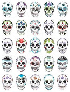Great page of muertos face painting styles.
