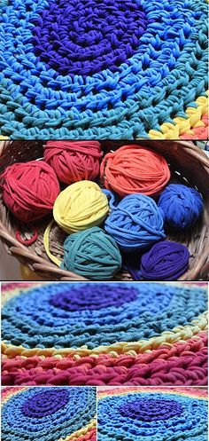 Rainbow rug, crocheted from t-shirt yarn.  Beautifully done, so pretty!