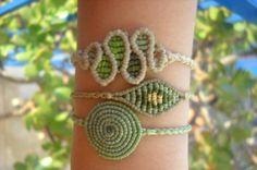 Green macrame bracelet set of 3