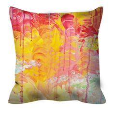 SUN SHOWERS Orange Pink Art Suede Throw Throw Pillow Cover 18x18 20x20 Abstract Sky Rainy Day Sunshine Modern Decor Acrylic Painting Cushion by EbiEmporium on Etsy https://www.etsy.com/listing/163662663/sun-showers-orange-pink-art-suede-throw