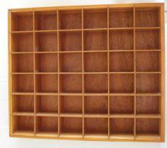 Vintage wood shadow box Knick knack shelf Curio display Wall hanging decorative 36 cubby