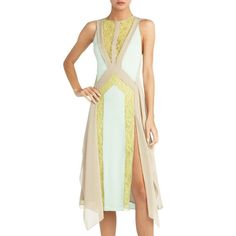 "BCBG Runway NWT ""Jessa"" Mint Lace Yellow Party Dress New XXS $448 SIL6S595 #BCBGMAXAZRIA #Shift #Cocktail"