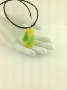 used Glass Green Yellow Abstract Art Pendant on A  Leather Cord Necklace      Hand Crafted Jewelry