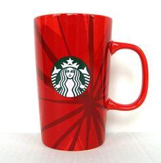 Starbucks Christmas Holiday 2014 TALL Red Ceramic Coffee Cup Mug 12oz Siren Logo #Starbucks